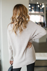Oversized Knit Sweater in Taupe Back View