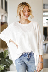 White - Dress Up model wearing an Oversized Waffle Knit Top with jeans