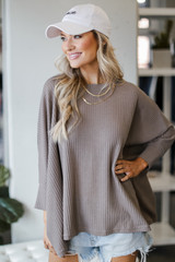 Mocha - Oversized Waffle Knit Top from Dress Up