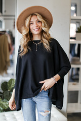 Oversized Waffle Knit Top in Black Front View