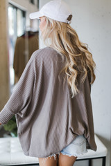 Oversized Waffle Knit Top in Mocha Back View