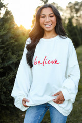 White - Believe Oversized Pullover