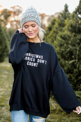 Model wearing the Christmas Calories Oversized Pullover