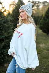 Be Merry Oversized Pullover Side View
