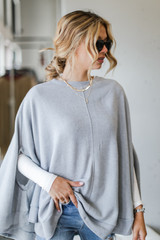 Heather Grey - Dress Up model wearing a Brushed Knit Poncho