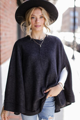 Charcoal - Brushed Knit Poncho
