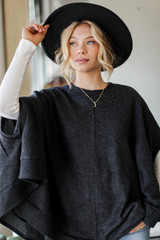 Charcoal - Brushed Knit Poncho from Dress Up