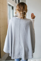 Brushed Knit Poncho in Heather Grey Back View