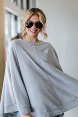 Brushed Knit Poncho in Heather Grey Front View