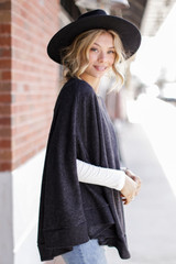 Brushed Knit Poncho in Charcoal Side View
