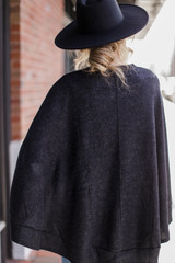 Brushed Knit Poncho in Charcoal Back View