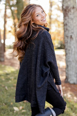 Charcoal - Brushed Knit Cowl Neck Tunic Side View