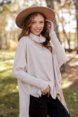 Taupe - Brushed Knit Cowl Neck Tunic from Dress Up