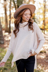 Taupe - Model wearing a Brushed Knit Cowl Neck Tunic