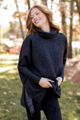 Brushed Knit Cowl Neck Tunic in Charcoal Front View