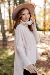 Brushed Knit Cowl Neck Tunic in Taupe Side View