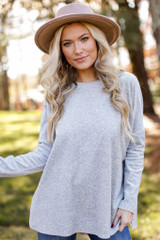 Heather Grey - Oversized Velvet Sweater