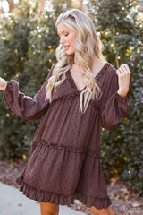 Brown - Swiss Dot Tiered Babydoll Dress from Dress Up