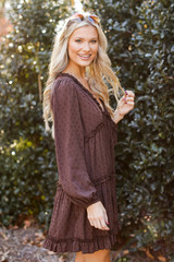 Swiss Dot Tiered Babydoll Dress in Brown Side View