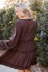 Swiss Dot Tiered Babydoll Dress in Brown Back View