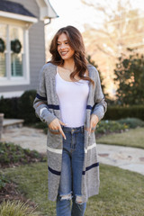 Heather Grey - Model wearing a Striped Sweater Cardigan