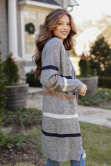 Heather Grey - Dress Up model wearing a Striped Sweater Cardigan