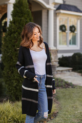 Striped Sweater Cardigan in Black Front View
