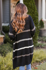 Striped Sweater Cardigan in Black Back View