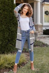 Striped Sweater Cardigan in Heather Grey Front View