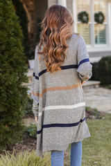 Striped Sweater Cardigan in Heather Grey Back View