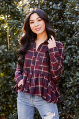 Burgundy - Plaid Babydoll Blouse from Dress Up