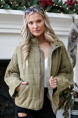 Olive - Quilted Knit Jacket