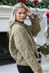 Quilted Knit Jacket in Olive Side View
