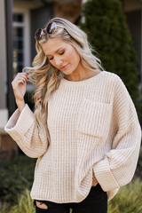 Taupe - Oversized Chenille Sweater