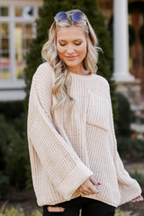 Taupe - Oversized Chenille Sweater from Dress Up