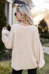 Oversized Chenille Sweater Back View
