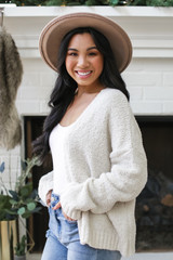 Fuzzy Knit Cardigan in Ivory Side View