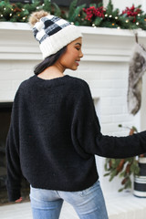 Fuzzy Knit Sweater in Black Back View