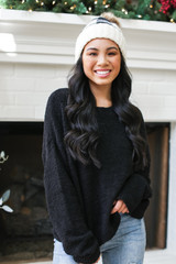 Fuzzy Knit Sweater in Black Front View