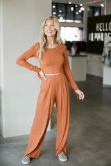 Camel - Ribbed Knit Crop Top from Dress Up