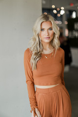 Model wearing a Ribbed Knit Crop Top