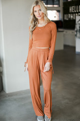 Dress Up model wearing a Ribbed Knit Crop Top