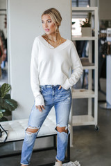Model wearing the Nashville Distressed Sweater
