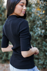 Mock Neck Sweater Top Side View