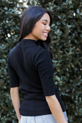 Mock Neck Sweater Top Back View