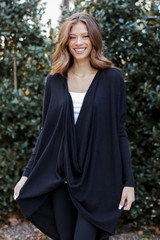 Oversized Surplice Tunic in Black Front View