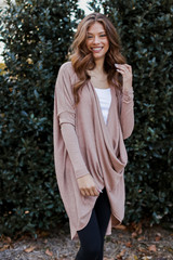 Oversized Surplice Tunic in Taupe Front View