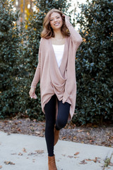 Model wearing an Oversized Surplice Tunic in Taupe Front View