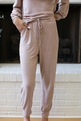Brushed Knit Joggers in Taupe Front View