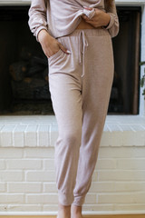 Taupe - Model wearing Brushed Knit Joggers